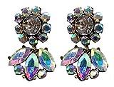 Veenajo Women Fashion Jewelry Dazzle Sunflower Stud Earring Crystal Leaves Earrings