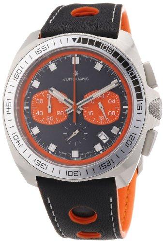 Junghans 041/4260.00 - Reloj cronógrafo de cuarzo para hombre con correa de piel, color negro