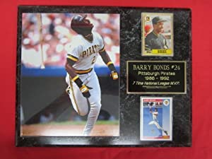 Barry Bonds Pittsburgh Pirates 2 Card Collector Plaque w  8x10 ROOKIE YEAR Photo by J & C Baseball Clubhouse
