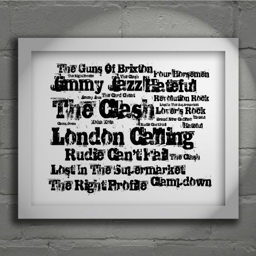 The Clash - London Calling - Firmato e numerato Edizione limitata tipografia muro arte Stampa Testo della canzone poster