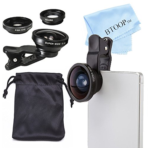 BTOOP iPhone Lens – Macro Lens and Fisheye Lens + Super Wide Lens + Universal Clip + BTOOP Microfiber Cleaning Cloth 3 in 1 iPhone Lens Kit for iPhone 6/6 Plus, iPhone 5 5S 4 4S, iPad Air 2/1, iPad 4/3/2, iPad Mini 3/2/1, Tablet PC, Laptops, Samsung Galaxy S5/S4/S3 and Other Smartphone (Black)