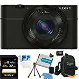 Sony DSC-RX100 20.2 MP Exmor CMOS Sensor Digital Camera with 3.6x Zoom BUNDLE with Sony 32GB High Speed Class 10 SD Card, Spare Battery, Deluxe Case, Card Reader, Mini Tripod, LCD Screen protectors and MORE!