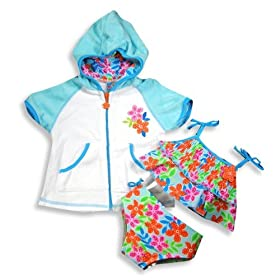 Baby Buns - Newborn Girls 3 Piece Swimwear Set, Bikini And Hooded Terry Cover-up, Blue, Multi