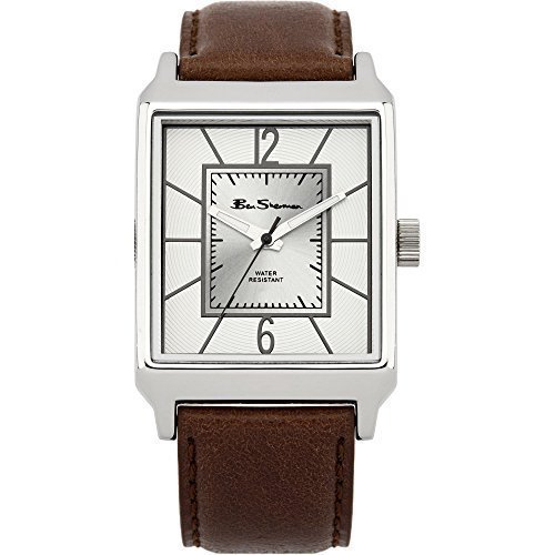 Ben Sherman BS098 Gents Watch with Brown Strap and Silver Rectangular Dial