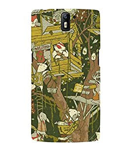 ANIMATED CARTOONISH TREEHOUSE PATTERN 3D Hard Polycarbonate Designer Back Case Cover for One Plus One :: One Plus1 :: OnePlus One