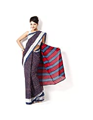 Aaradhya Indigo Dabu Print Cotton Saree For Women - B00TF0EA7U