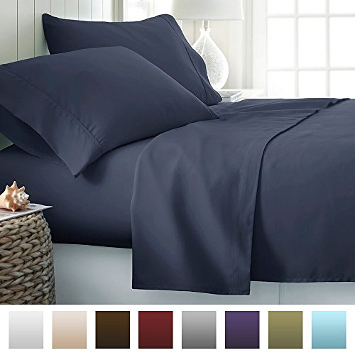 Beckham Hotel Collection Luxury Soft Brushed Microfiber 4 Piece Bed Sheet Set Deep Pocket - Full - Navy (Full Sheet Set Hotel compare prices)
