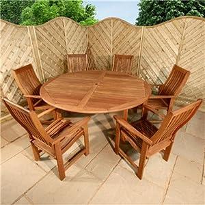 Billyoh Sovereign Round 6 Seater Wooden Garden Furniture Set Garden Outdoors