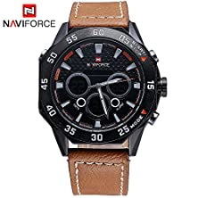 buy Gosasa New Sport Watch Men Analog Digital Watch Luxury Genuine Leather Band Fashion Men Watch (Brown)