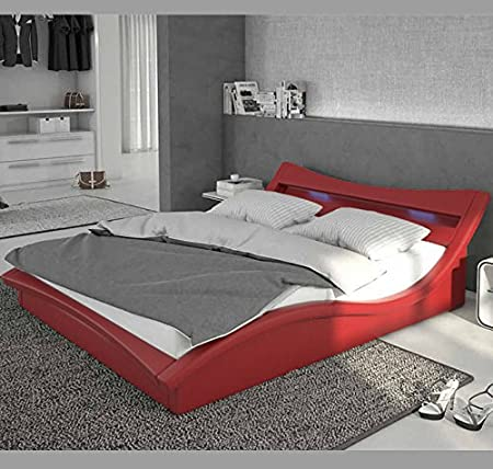 Design Ameublement - Lit design Granada – rouge avec LED – 180x200cm