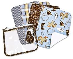 Trend Lab 4 Pack Zip Pouch Burp Cloth Set, Cowboy