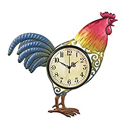 Colorful Hand Painted Metal Rooster Wall Clock
