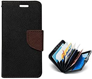 Tidel Premium Table Talk Fancy Diary Wallet Flip Cover Case for Micromax Canvas Nitro A310 (Black)With Credit Card Holder