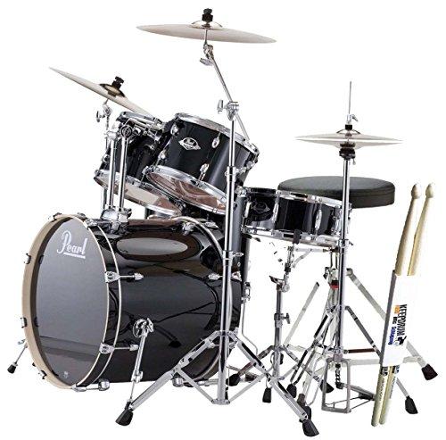 Pearl-Export-EXX725ZC31-Black-and-Sabian-SBR-Cymbals-Set-with-Drum-Stool-Plus-KEEPDRUM-Drumsticks