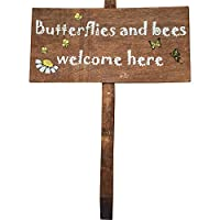 """Wooden Garden Sign """"Butterflies & Bees Welcome Here"""" by Giftworks"""