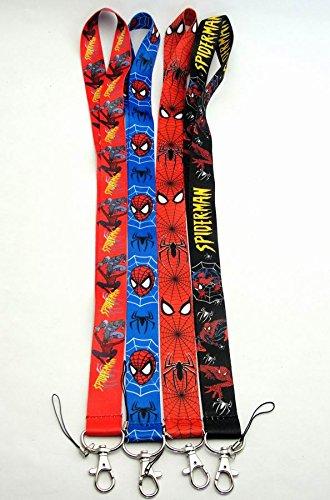 Sef of 4 Spiderman Lanyard Key Chain Holder ~Lanyard~ (spiderman)