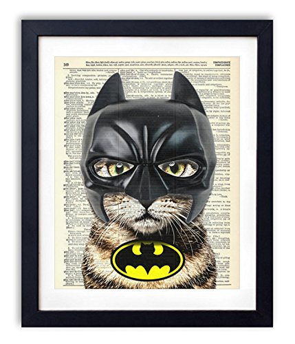 bat-cat-super-hero-vintage-upcycled-dictionary-art-print-8x10-inches