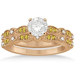 Marquise and Dot Pave-Setting Yellow Sapphire and Diamond Accented Bridal Set 14k Rose Gold 0.49ct