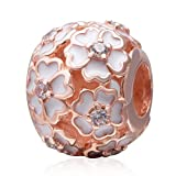 Primrose Meadow Charms 925 Sterling Silver Clear CZ Stone Charm for European Bracelet (Rose Gold)