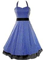 50's Small Polka Dot Dress Blue