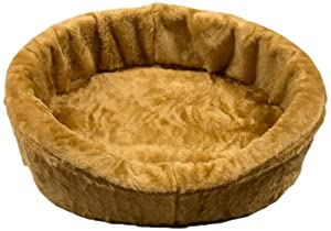 Dog Bed King USA Large Tan Plush Fur Dog Ortho Comfort Bed, 33-Inch by 23-Inch by 7-Inch