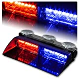 WoneNice 16 LED High Intensity LED Law Enforcement Emergency Hazard Warning Strobe Lights 18 Modes for Interior Roof / Dash / Windshield with Suction Cups (Red/Blue)