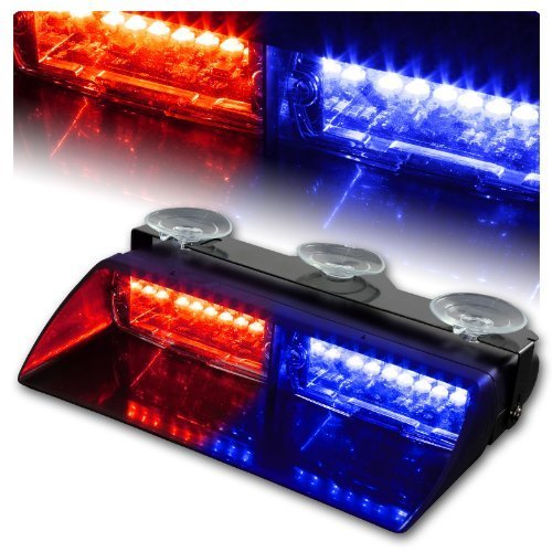 WoneNice 16 LED High Intensity LED Law Enforcement Emergency Hazard Warning Strobe Lights 18 Modes for Interior Roof / Dash / Windshield with Suction Cups (Red/Blue) (Led Dash Lights Red Blue compare prices)