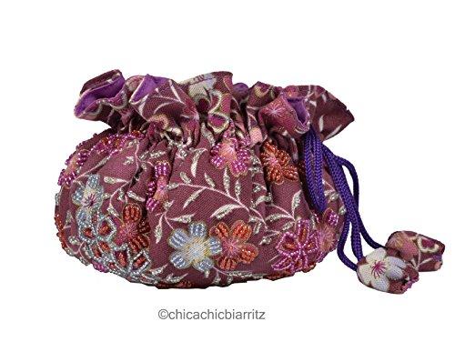 Pochette Rangement Bijoux - Fait Main - Perles Cousues Main - Japanese Purple
