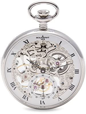 Bouverat 1919 Pocket Watch BV824201 Rhodium Plated Open Face