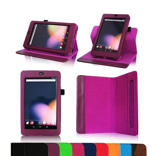 Fintie Dual-View Multi Angle (Purple) Leather Folio Case Cover for Google Nexus 7 Tablet (Auto Wake/Sleep Feature) -9 Color Options:Black,Green,Blue,Orange,Red,Navy, Pink,Purple,Dual