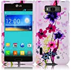 Hard Elite Flower Case Cover Faceplate Protector for LG Optimus Showtime L86C Straight Talk / Net 10 with Free Gift Reliable Accessory Pen