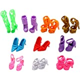EastVita 10 Pairs of Doll Shoes, Fit Barbie Dolls Multicoloured, 1 inch