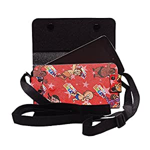 Colorkart Printed Mobile Pouch Handbag With Adjustable Strip For Lenovo Vibe Z K910L Mobile Phone (Red)