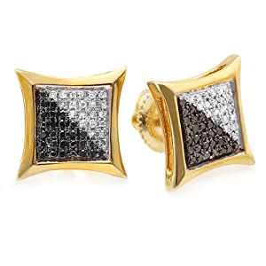 0.25 Carat (ctw) 10K Yellow Gold White & Black Round Diamond Micro Pave Setting Kite Shape Stud Earrings 1/4 CT