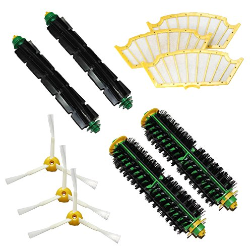 Shp-Zone 2 Bristle Brushes & 2 Flexible Beater Brushes & 3 Side Brushes 3-Armed & 3 Filters Pack Kit For Irobot Roomba 500 Series Roomba 510, 530, 535, 540, 560, 570, 580, 610 Vacuum Cleaning Robots All Green, Red, Black Cleaning Head front-546915