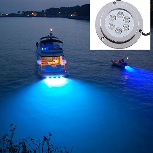AGPtEK® 6*2W Stainless Steel IP68 Waterproof LED Marine Underwater Light Boat Yacht light - Blue (Led Underwater Boat Lights compare prices)