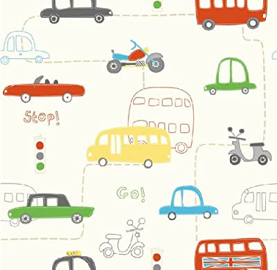Hoopla Vehicle Transport Road Map Childrens Bedroom 10m Wallpaper Roll Decor Art by DECORLINE