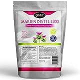 Mariendistel - 180 Kapseln - 4200mg Mariendistel Pulver pro Kapsel - 80% Silymarin - 60 Tage Anwendung - Mariendistelextrakt