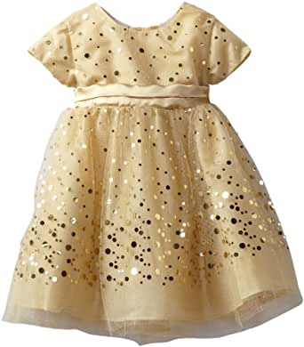 Blueberi Boulevard Baby Girls' Gold Sequin Dress, Gold, 12 Months