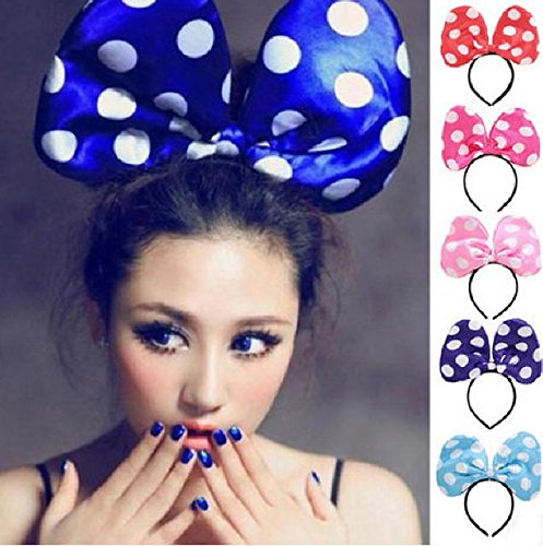 Big Ribbon headband 29 x 18 cm glow party event party Halloween Christmas new year (Pink)