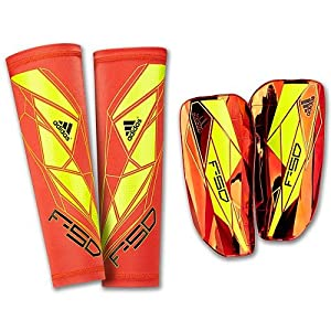 adidas F50 Pro Lite Shin Guard (High Energy Orange, Electricity Yellow, Black, Size X-Small)