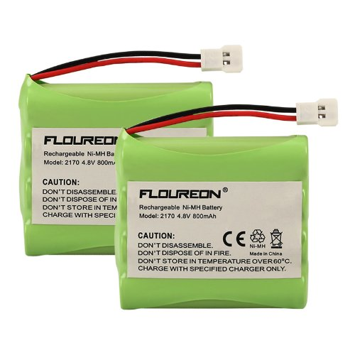 2 Packs Floureon® Battery For Summer Baby Monitor 02170 02174 02320 H-Aaa600 H-Aaa700 4.8V 800Mah Ni-Mh Fruit Green front-243885