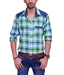 Ballard Men's Casual Shirt (BCS0012_Green_42)