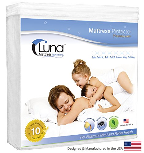 Full Xl Size Luna Premium Hypoallergenic 100% Waterproof Mattress Protector - Made in the USA - 10 Year Warranty (Full Mattress Made In Usa compare prices)
