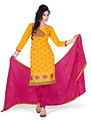 Vibes Womens Chanderi Patch Work Straight Dress Material (V259-1002 _Orange _Free Size)