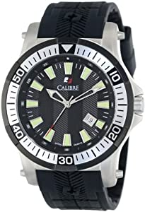"Calibre Men's SC-4H1-04-007 ""Hawk"" Stainless Steel and Black Rubber Watch"