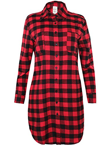 Oversized Long Sleeve Button Down Plaid Shirt Dress Red Black L Size (Red And Black Hooded Flannel compare prices)