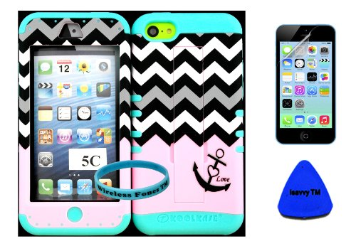 Apple Iphone 5C Baby Pink Block Chevron With Anchor Design Pattern Plastic Protective Cover Case With Kickstand On Baby Teal Silicone Gel. (Included: Wristband, Screen Protector, And Pry Tool Exclusively By Wirelessfones Tm) front-330461