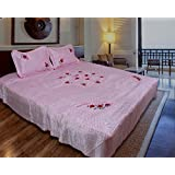 Home Shop Gift Floral Embroidery Designer Satin Double Bed Bedsheet Bedspread With 2 Pillow Cover