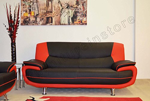 Best Price For 2 Seater Passero Black and Red Faux Leather Sofa ...